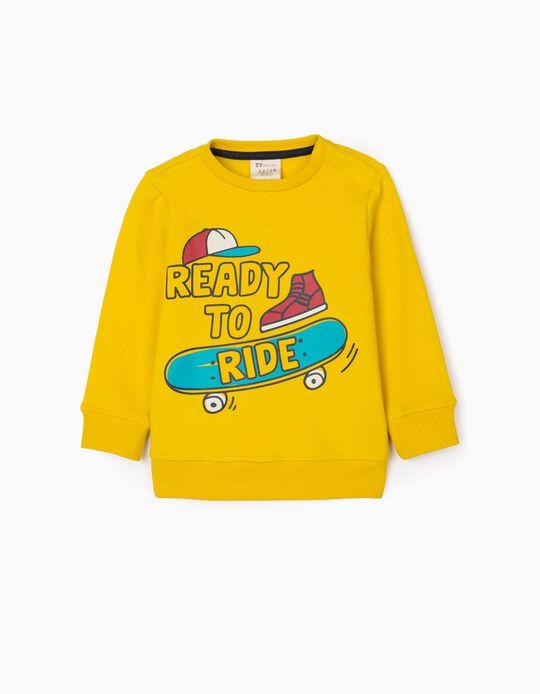 Sweatshirt para Bebé Menino 'Ready to Ride', Amarelo