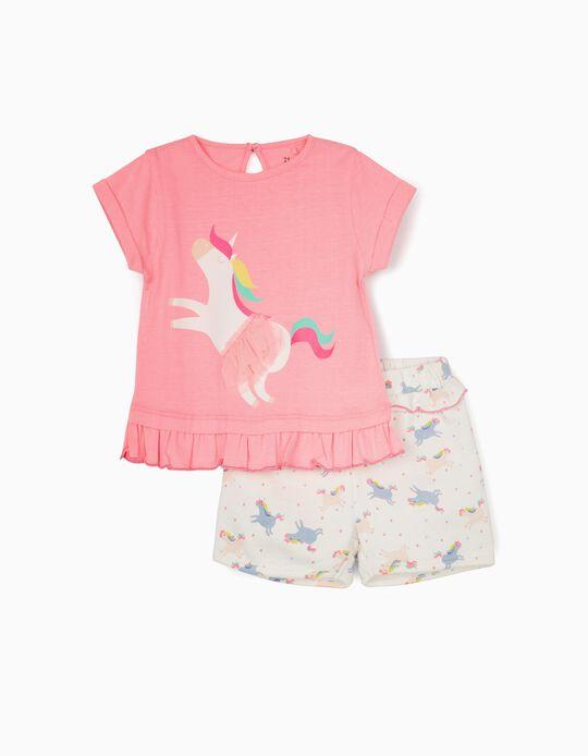 T-shirt e Calções para Bebé Menina 'Unicorns', Rosa/Branco
