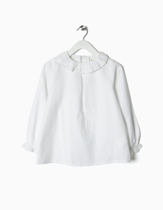 Blusa para Niña con Volantes, Blanca