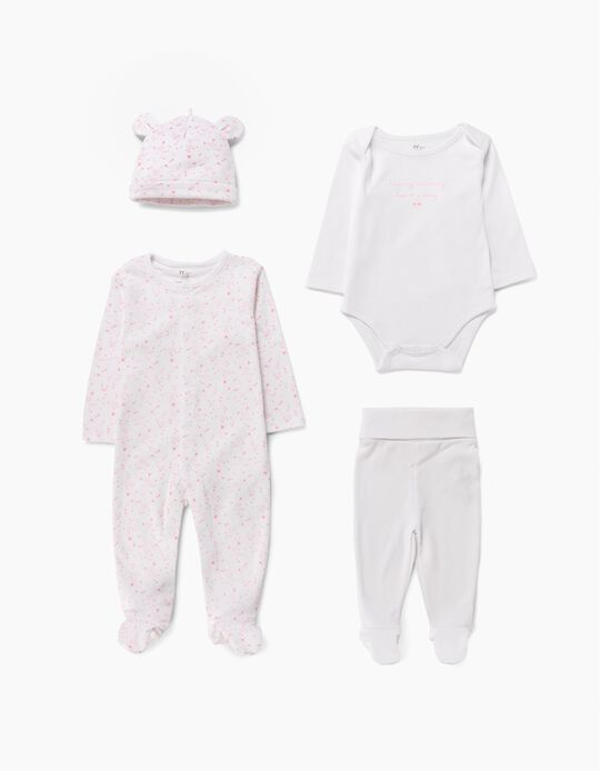 4-Piece Ensemble for Newborn Baby Girls, White/Pink