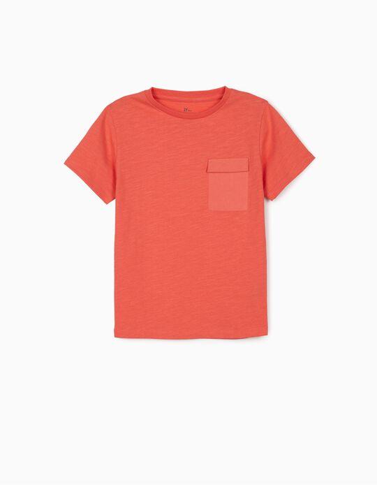 T-shirt com Bolso para Menino, Coral