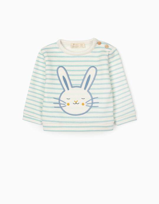 Sudadera a Rayas para Recién Nacido 'Cute Bunny', Blanco/Azul