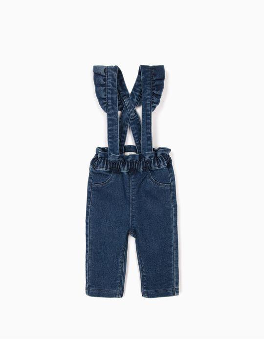 Pantalón con Tirantes para Recién Nacida 'Comfort Denim', Azul