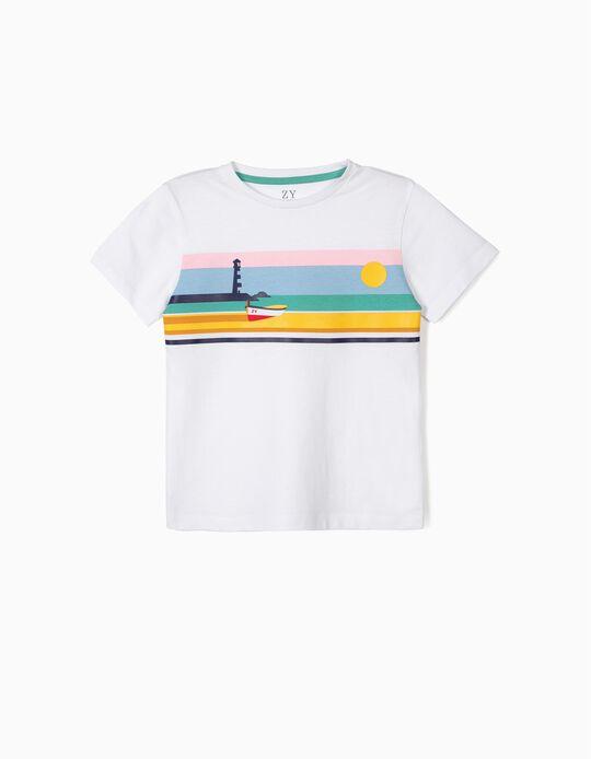 T-shirt para Menino 'ZY Boat', Branco