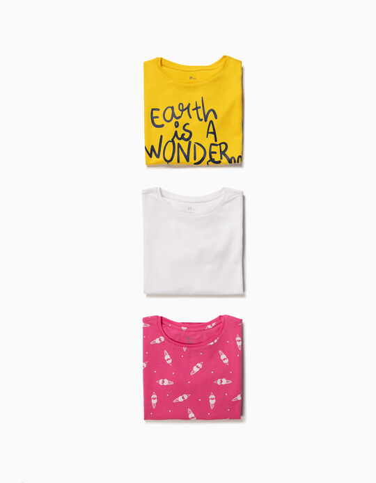 3-Pack T-shirts for Girls 'Earth', Multicolour