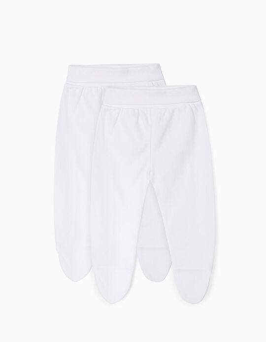 Pack 2 Pantalones con Pies para Recién Nacido, Blanco
