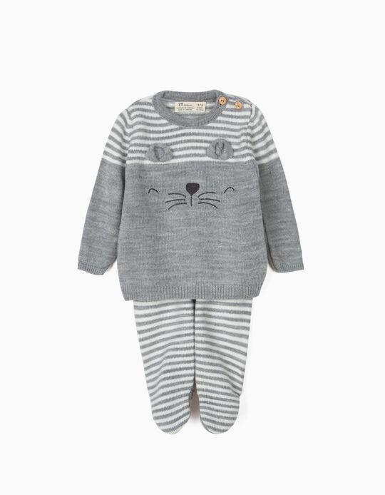 Camisola e Calças Malha para Recém-Nascido 'Lion', Cinza e Branco