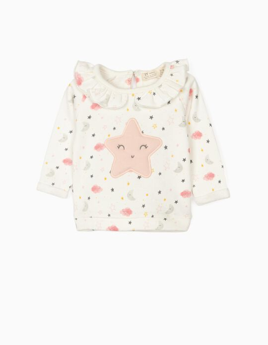 Sweatshirt for Newborn Baby Girls, 'Star', White/Pink