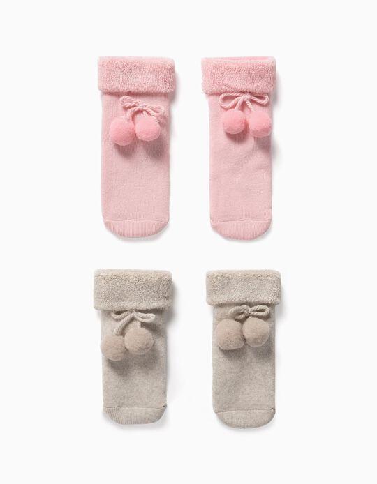 2 Pares de Meias com Pompons para Bebé, Rosa/Bege