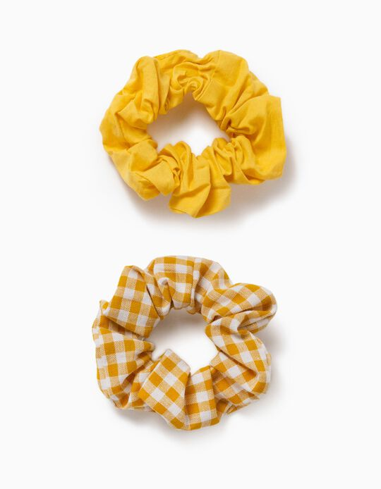 2 Fabric Hair Bobbles for Girls, 'Gingham', Yellow/White
