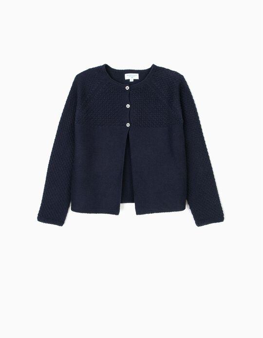 Casaco de Malha para Menina 'B&S', Azul Escuro