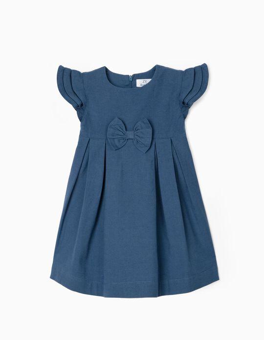 Linen Dress for Baby Girls, Blue