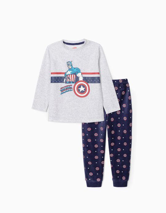 Pijama de Terciopelo para Niño 'Capitán América', Gris/Azul