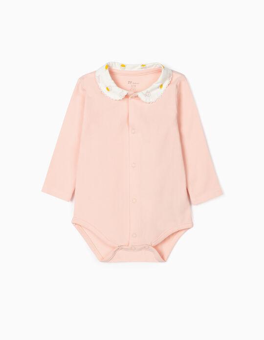 Long Sleeve Bodysuit for Newborn Baby Girls, Pink