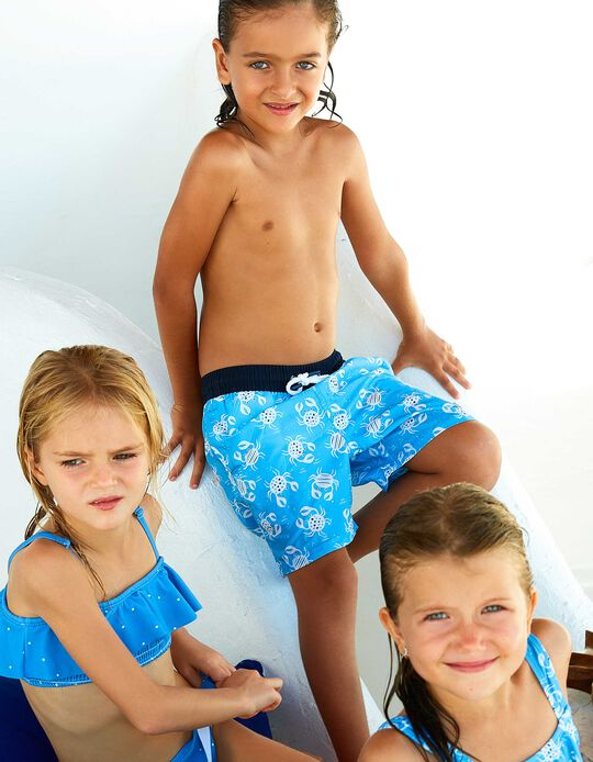 Swim Shorts for Boys, UPF 80, 'B&S' Blue