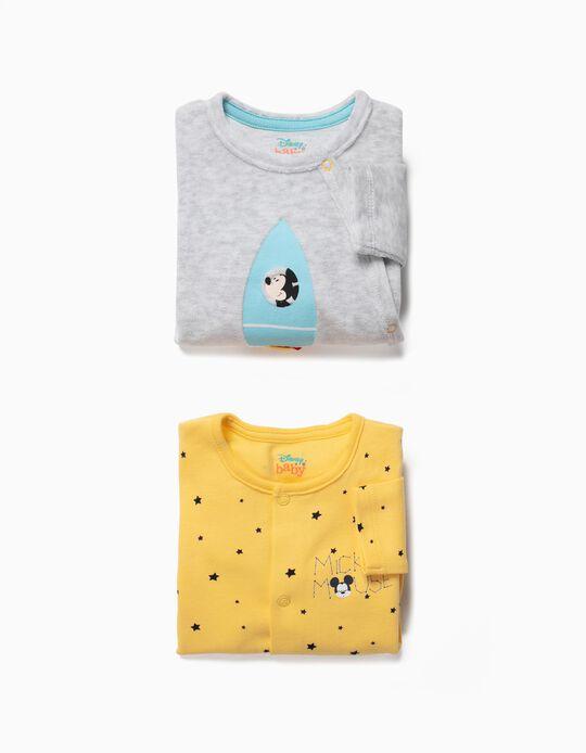 2 Babygrows para Recém-Nascido 'Space Mickey', Amarelo e Cinza