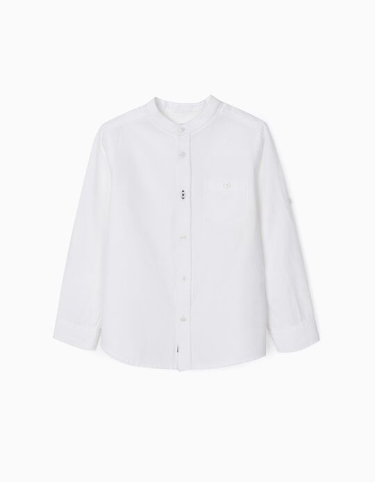 Twill Shirt with Mandarin Collar for Boys, White