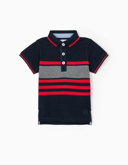 Striped Polo Shirt for Baby Boys, 'B&S', Blue/Red