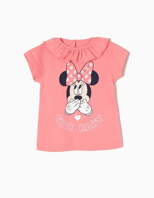 Camiseta para Bebé Niña 'Minnie' con Volante, Rosa