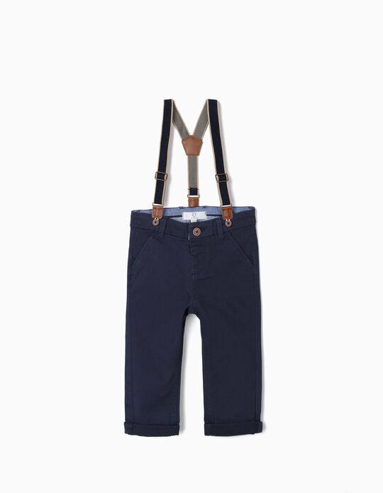 Calças Chino com Suspensórios para Bebé Menino, Azul Escuro
