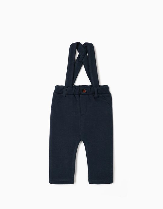 Piqué Knit Trousers with Braces for Newborn Baby Boys, Dark Blue