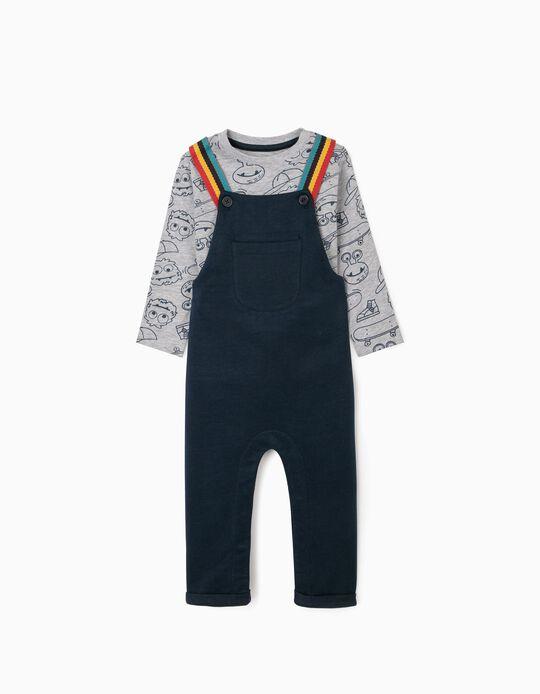 Peto y Camiseta de Manga larga para Bebé Niño, Azul/Gris