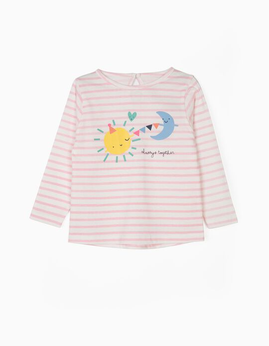Camiseta de Manga Larga para Bebé Niña 'Together', Blanca y Rosa