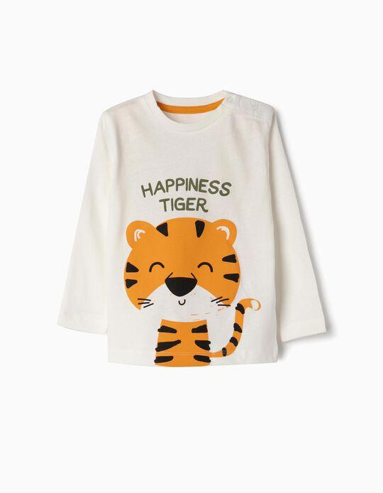 T-shirt Manga Comprida para Bebé Menino 'Hapiness Tiger', Branco