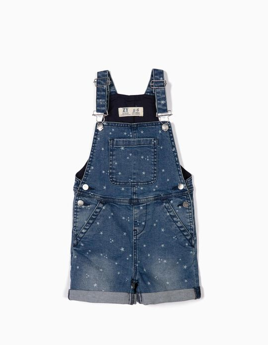 Denim Dungarees for Girls 'Stars', Blue