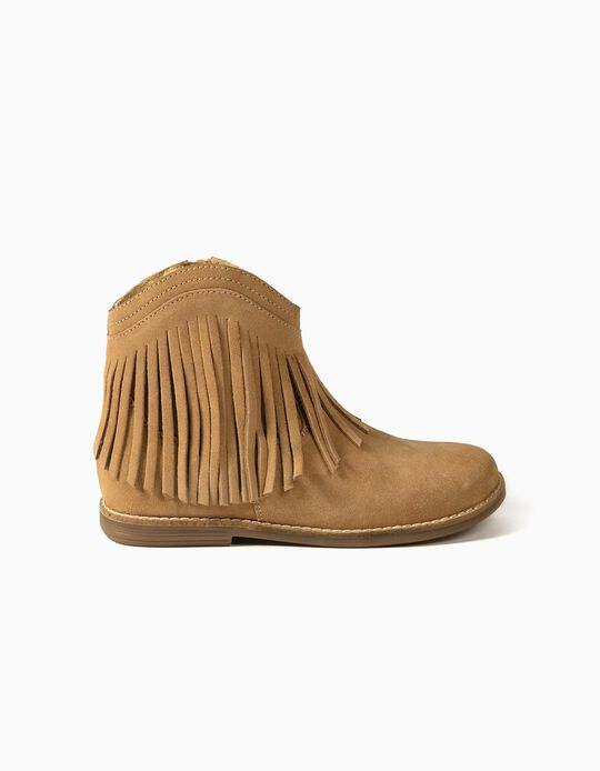 Suede Boots with Fringes for Girls, Camel