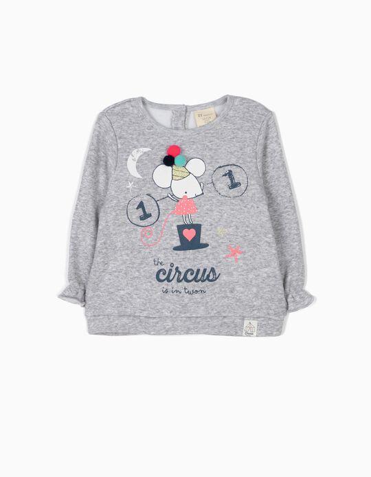 Sweatshirt Circus com Pompons Cinzenta