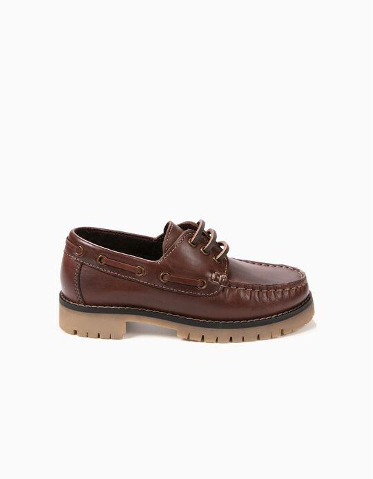Sapatos de Vela Pele Castanho Escuros
