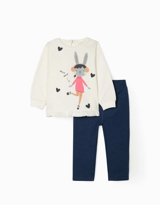 Sweatshirt and Trousers for Baby Girls 'Dance', White/Blue
