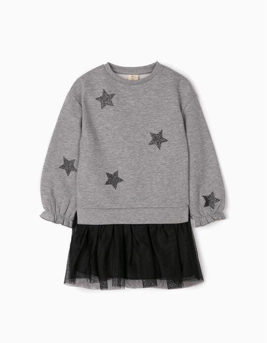 Vestido Combinado para Menina 'Tulle & Glitter', Cinza/Preto