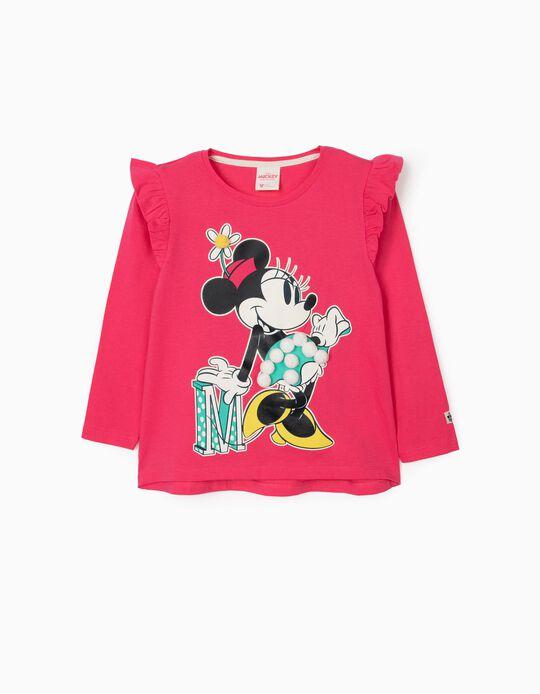 T-Shirt Manga Comprida para Menina 'Minnie', Rosa