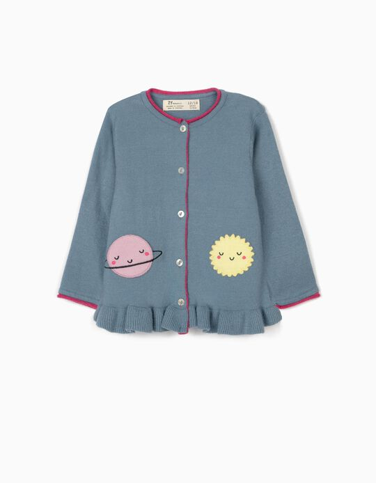 Cardigan for Baby Girls, 'Saturn & Sun', Blue