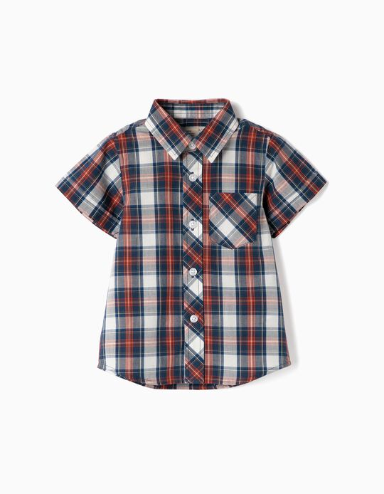 Camisa Manga Comprida para Bebé Menino 'Xadrez', Azul