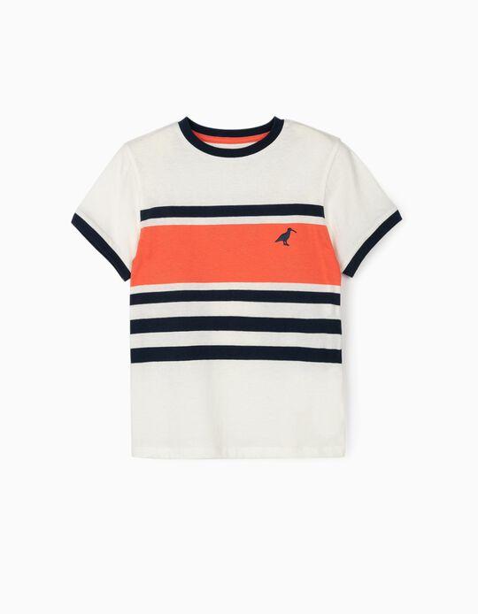 T-shirt Riscas para Menino, Branco/Azul/Coral