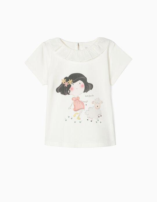 Camiseta de Algodón Orgánico para Bebé Niña 'BF', Blanca