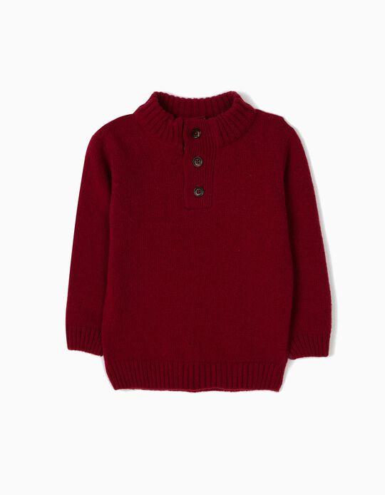 Jersey de Lana Rojo Oscuro