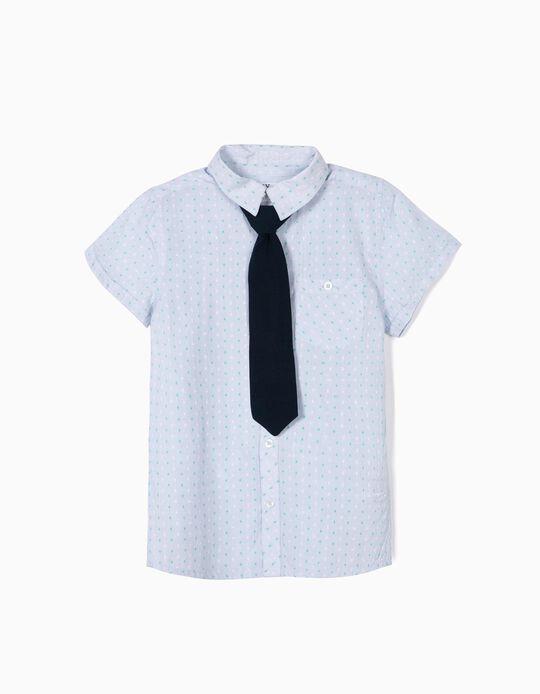 Camisa com Gravata para Menino, Azul