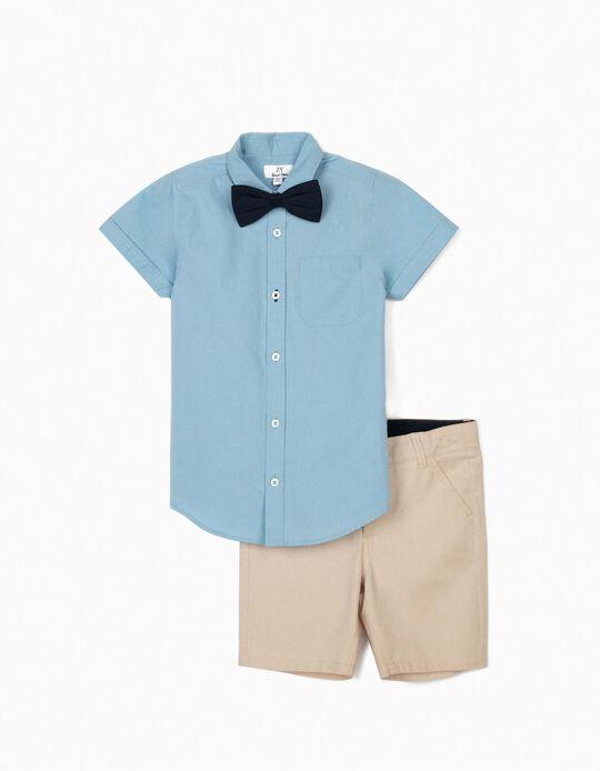 Camisa com Laço e Calções para Menino, Azul/Bege