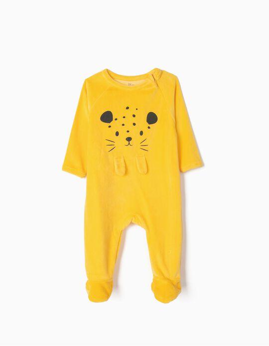Pelele de Terciopelo para Bebé Niño 'Cute Leopard', Amarillo