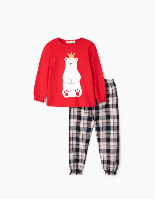 Pijama para Menina 'Bear King', Vermelho/Xadrez