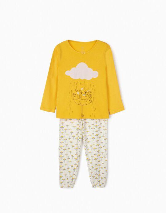 Pijama para Menina 'Rain & Flowers', Amarelo/Branco