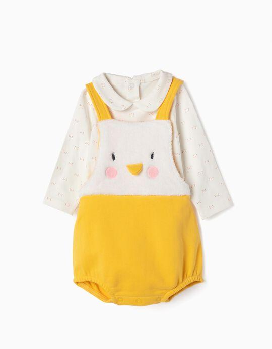 Macacão e Body para Recém-Nascido 'Pinguim', Branco e Amarelo