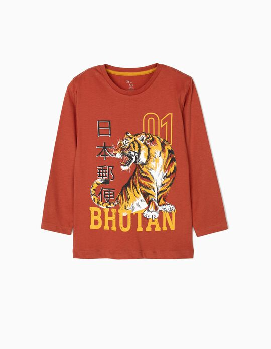 T-shirt Manga Comprida para Menino 'Bhutan',  Terracota