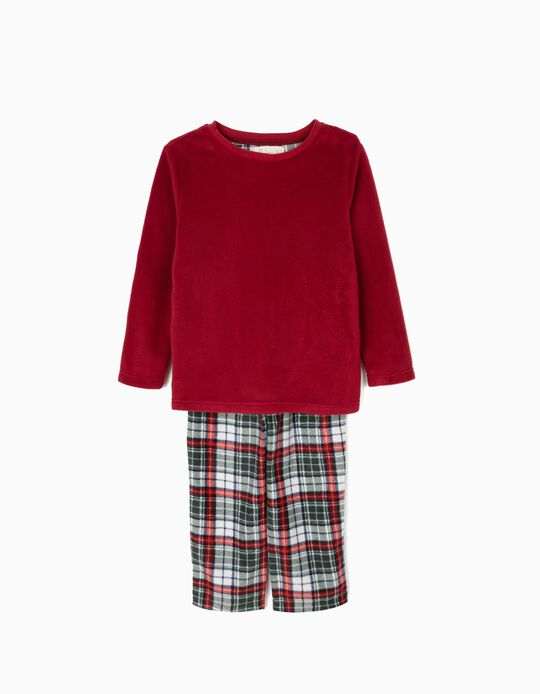 Pijama Polar Manga Comprida e Calças Bordô e Xadrez