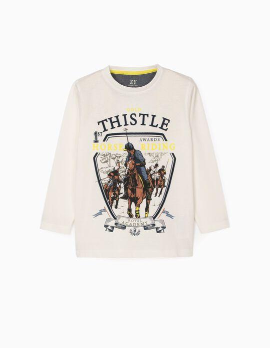 Camiseta de Manga Larga para Niño 'Gold Thistle', Blanca