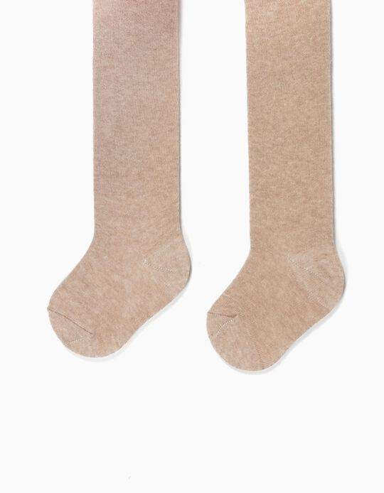 Fine Knit Tights for Baby Girls, Marl Beige
